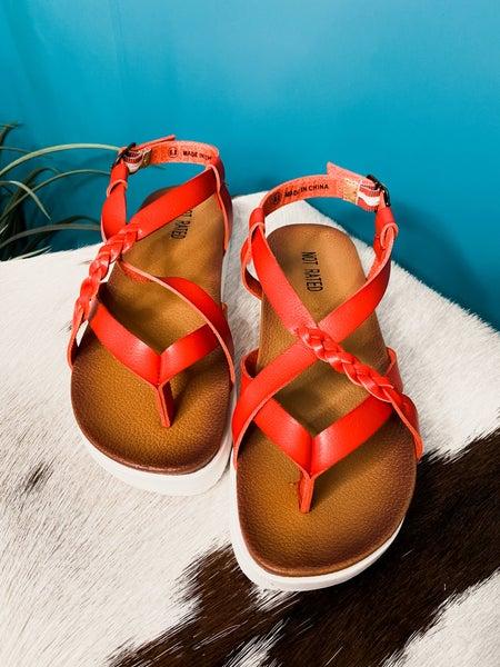 Red Platform Sandal with Braid Detail