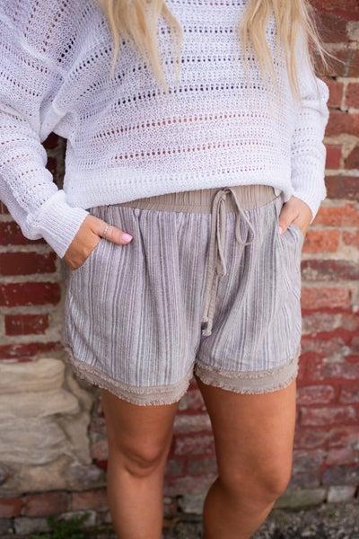 Taupe Striped Shorts w/ Metallic Detail