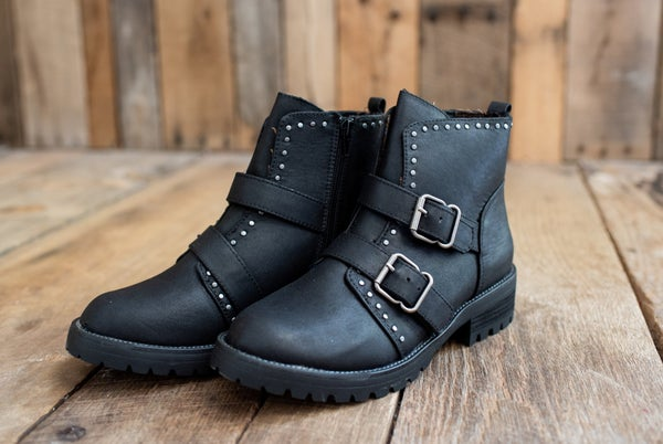 Black Studded Double Strap Bootie