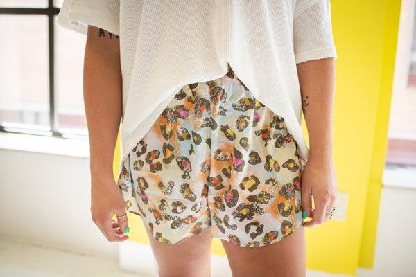 Tie Dye Leopard Satin Shorts