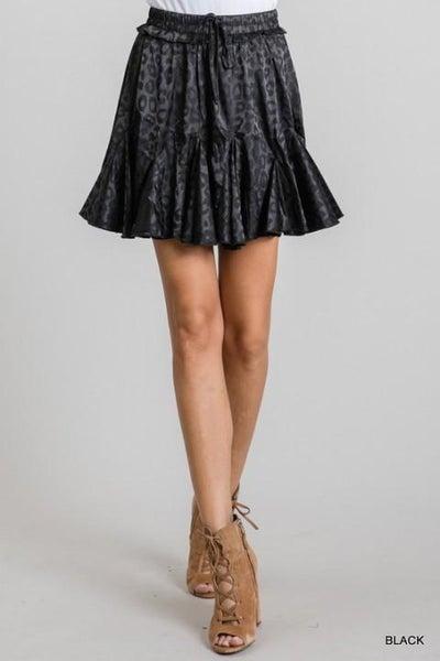 Black Leopard Print Skirt with Pleats