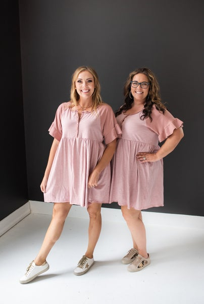 Dusty Rose Ruffle Sleeve & Trim Button Front Dress