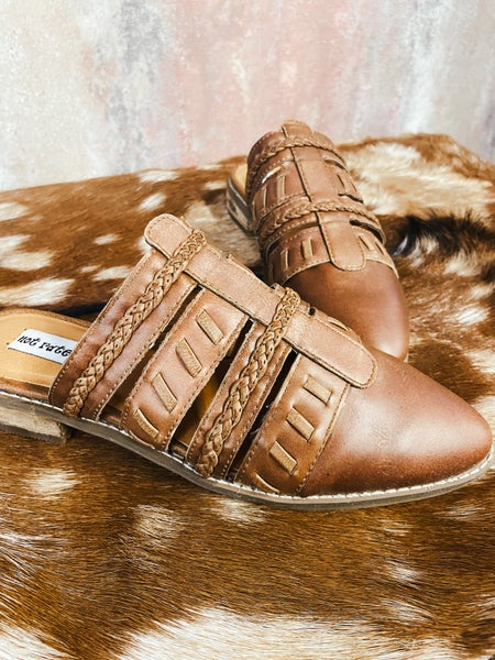 Tan Leather Slip On Mule