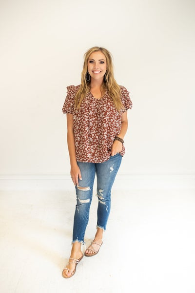 Brick Floral Blouse with Smocking