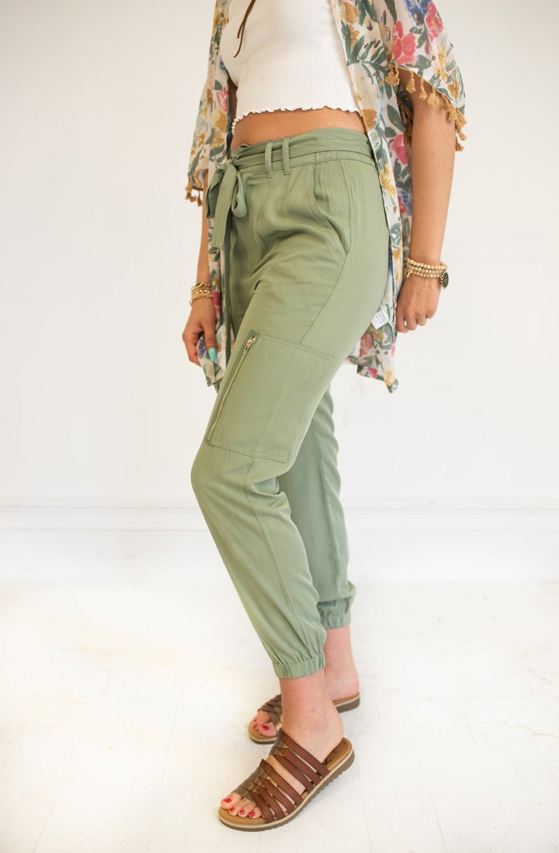 Olive Cargo Joggers with Waist Tie