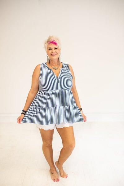 Gabby Babydoll Blue & White Stripe Tank