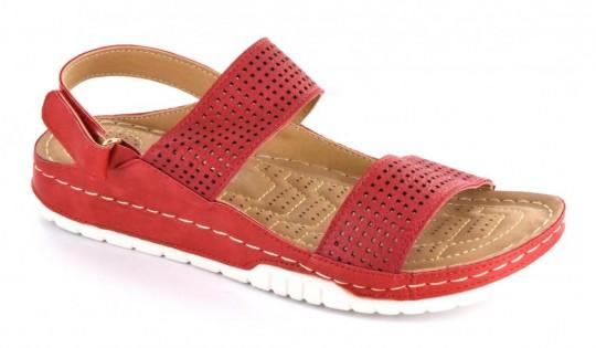 Red Double Strap Perforated Sandal