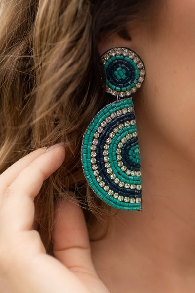Teal & Navy Half Circle Beaded Earring