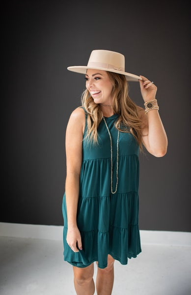 Hunter Green Sleeveless Ruffle Dress