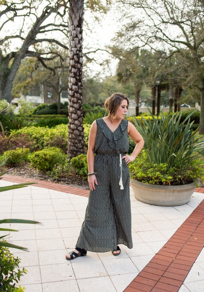 Black Patterned Jumpsuit w/ Ruffle Accents