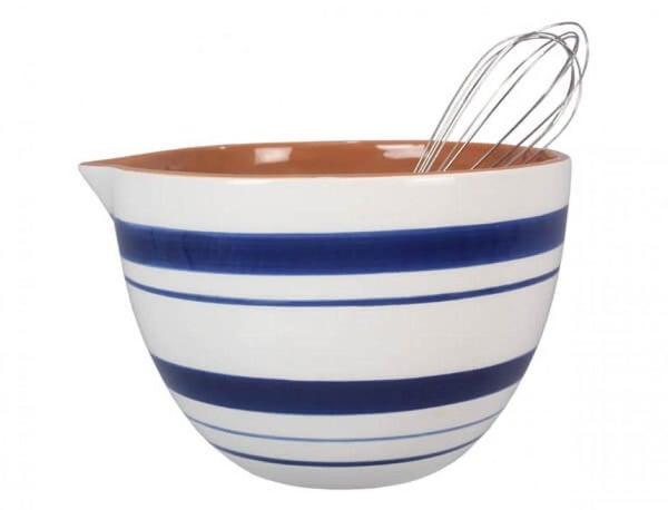 Blue & White Mixing Bowl w/ Spoon