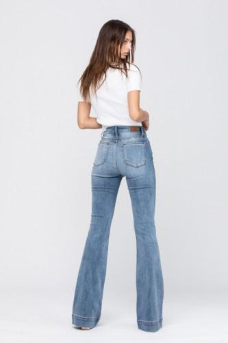 Mid Rise Trouser Flare Denim Jean