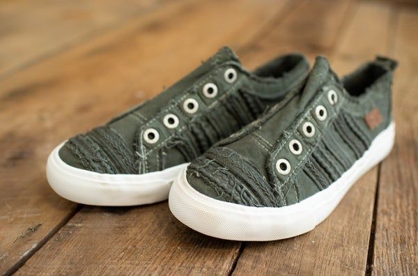 Olive Washed Canvas Sneaker