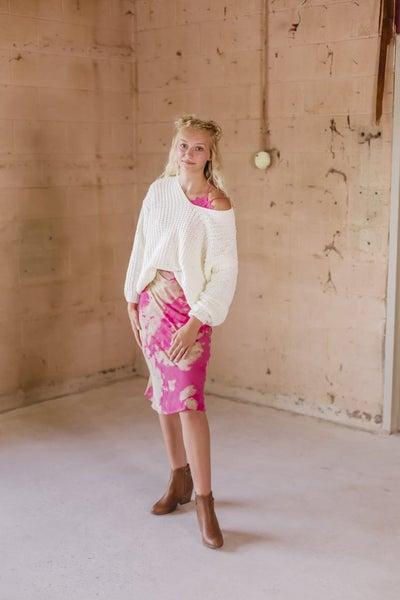 Longer Pink & Tan Skirt