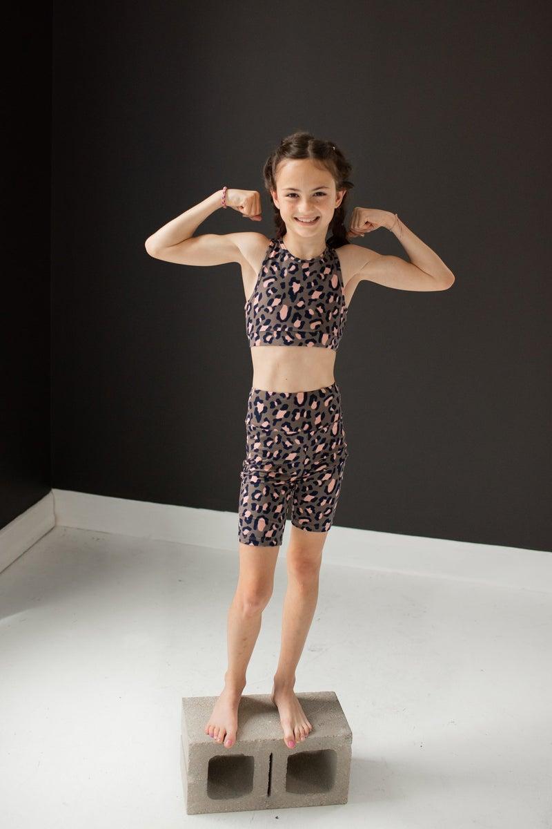 Pink Leopard Child Biker Shorts