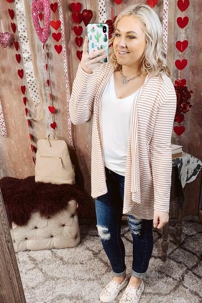 L/S Striped Knit Cardigan