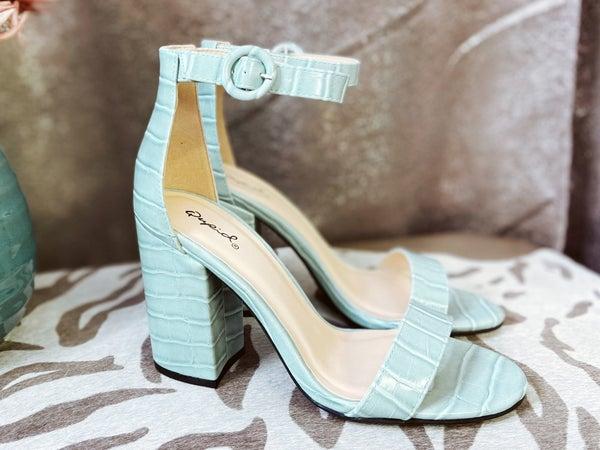 One Strap Heeled Shoe - Croc