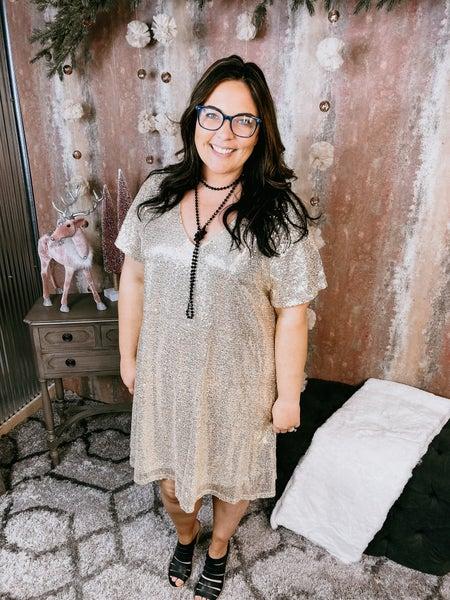Gold Short Sleeve Sequin Dress