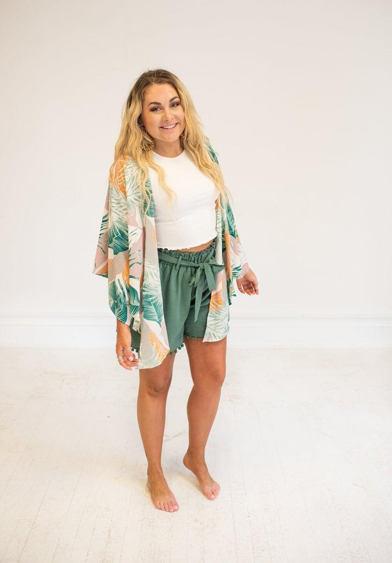 Jade Green Shorts with Waist Tie & Pockets