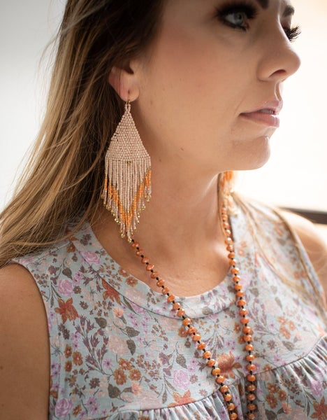 Blush Beaded Earring w/ Coral Accent