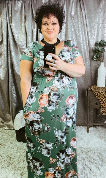 Long Green Floral Dress