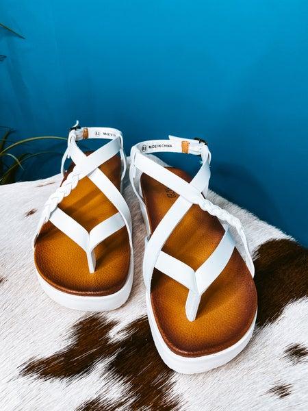 White Platform Sandal with Braid Detail