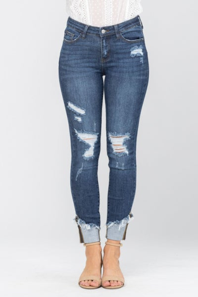 Distressed + Cuffed Judy Blue Jeans