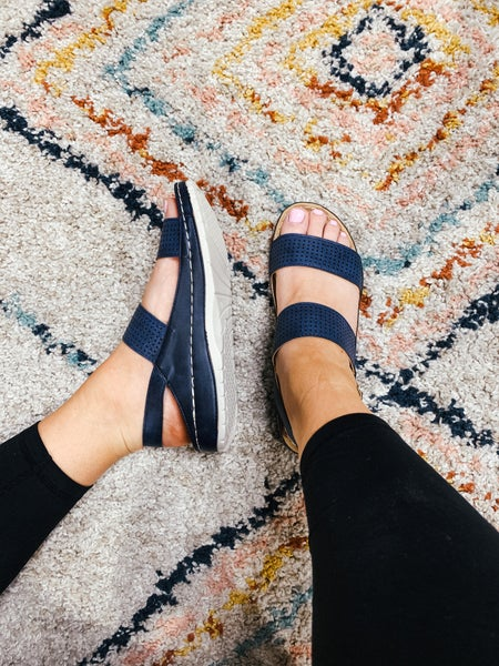 Navy Double Strap Perforated Sandal