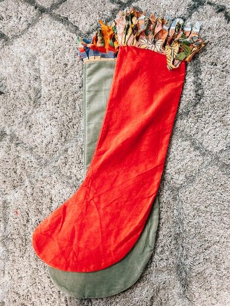 Velvet Stocking w/ Fringe