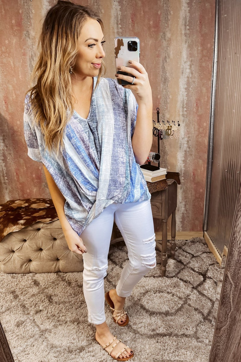V Neck Striped Short Sleeve Top w/ Front Knot