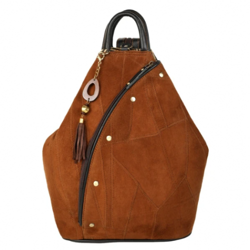 Brown Upcycled Leather Backpack
