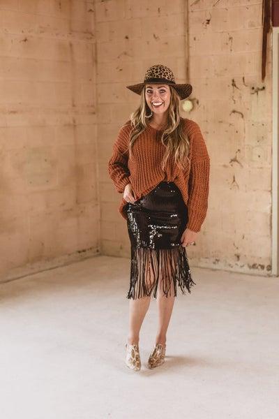 Sequin Skirt w/ Tassels