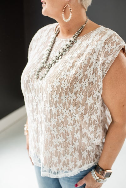 Off White Lace Overlay Blouse Tank