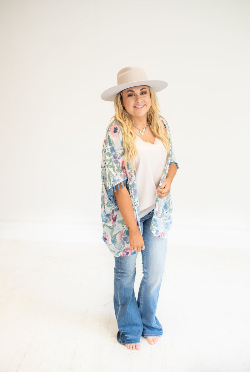 Mid Wash High Rise Button Up Flare