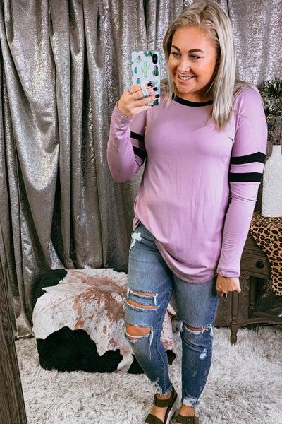 Lilac Hi Lo Tunic w/ Sleeve Stripe