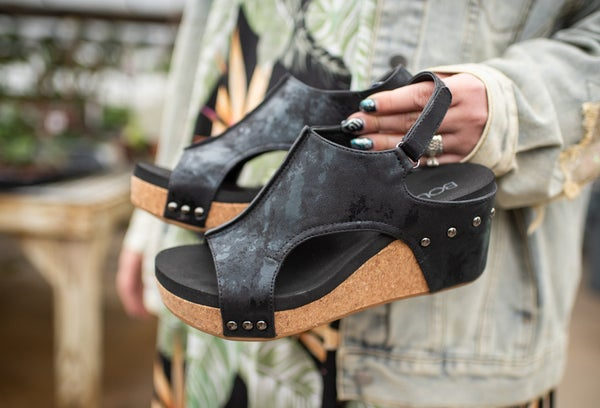 Black Wedge with Studding
