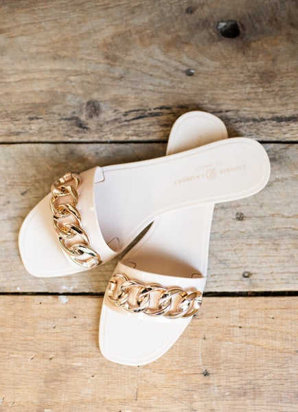 Nude Jelly Slide with Chain Detail