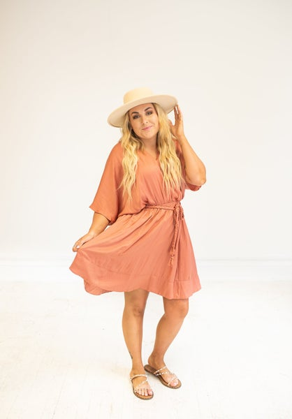 Rose Clay Washed Satin Cross Front Dress with Waist Tie