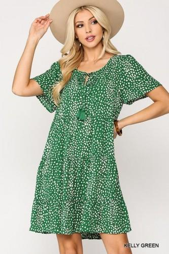Tiered Green Dress with Front Tie & Pockets