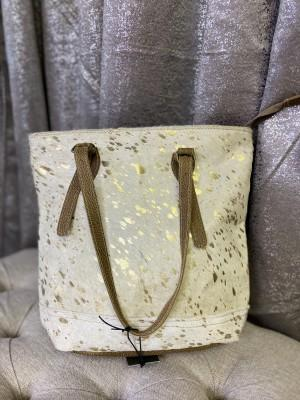 Leather Metallic Tote Bag