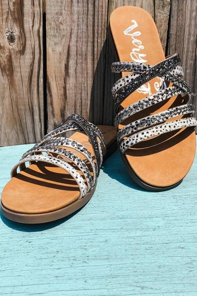 Cream Multi Strap Embellished Sandal