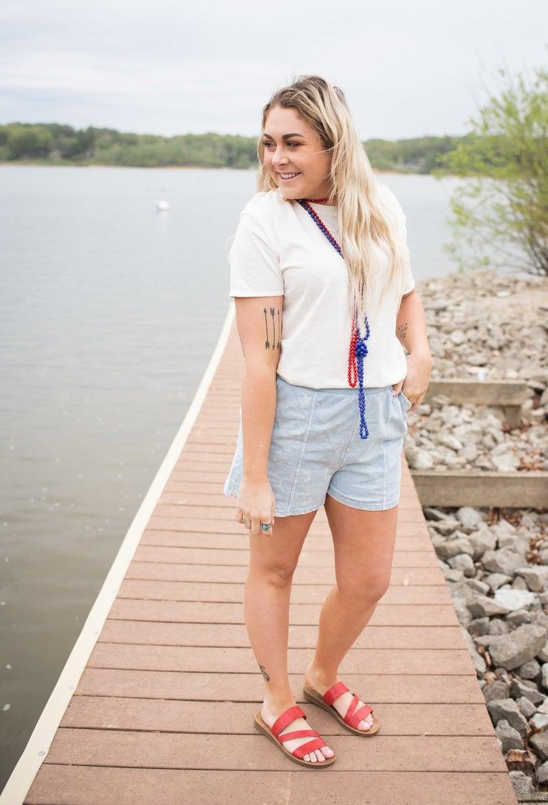 Cotton Blue Distressed Shorts