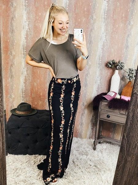 Long Black Embroidered Skirt