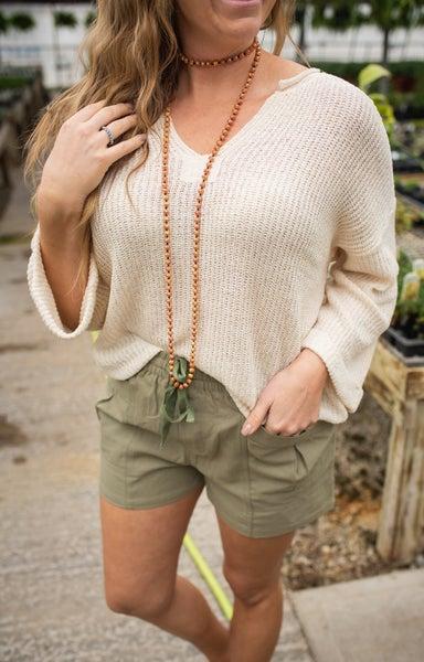 Olive Shorts w/ Front Pockets & Drawstring Elastic Waist