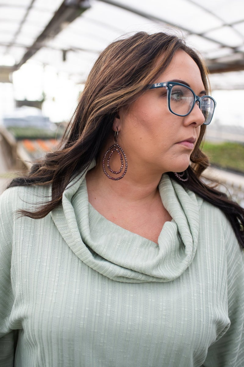 S/S Ribbed Sage Cowl Neck Top