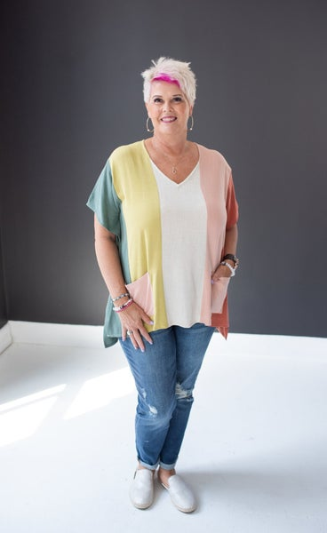 Linen Olive & Rust Mix Top with Pockets