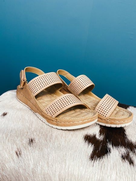 Natural Double Strap Perforated Sandal
