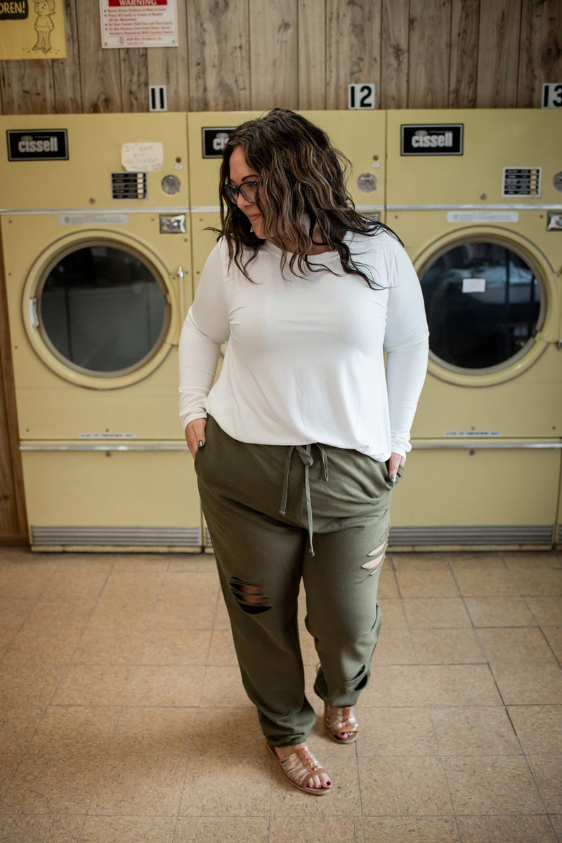 Olive Distressed Joggers
