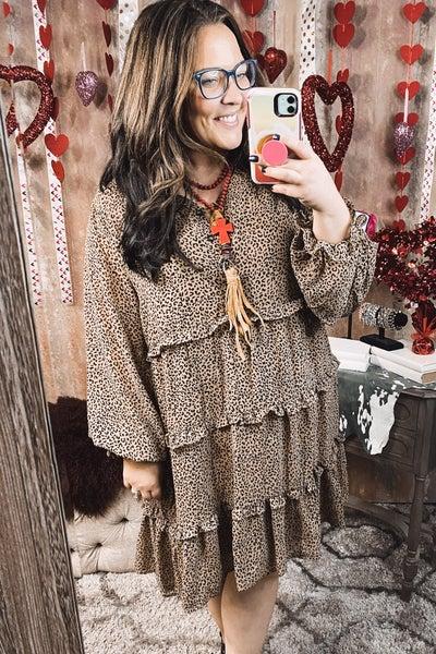 Ruffle Leopard Buttoned Dress