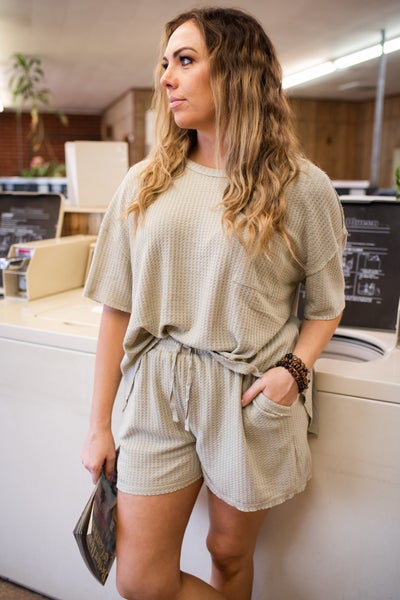 Taupe Waffle Top w/ Shorts SET